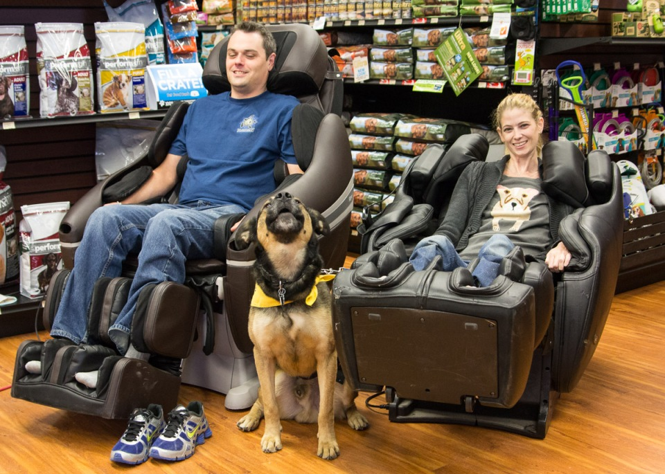 Ryan, Diesel and Heather ... ending the day with a massage chair.